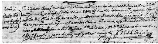 Marie Felicite Cazelar's Baptismal Record