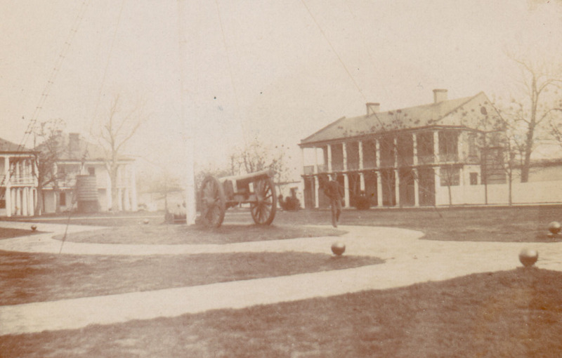 Parade field and officers' quarters, circa 1900