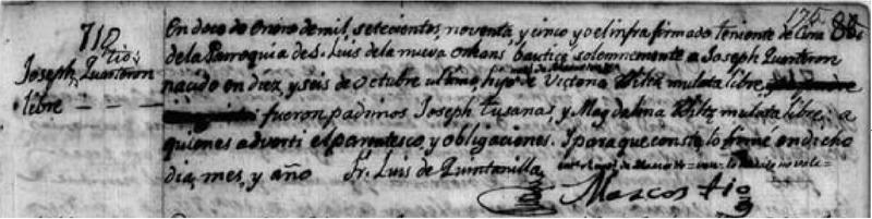 Baptism of Joseph Tio, January, 12, 1795