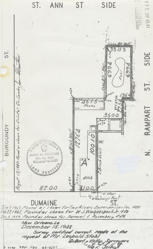 December 1948 survey on 1014 Dumaine Street.