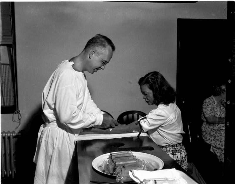 Doctor injecting leprosy patient, Joey G., with Promin. 1940s. Photograph Johnny H. Harmon.&lt;br /&gt;<br />