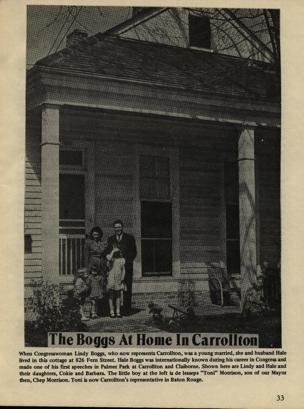 Picture of the Boggs family in front of their home on Fern St. &lt;br /&gt;<br /> &lt;br /&gt;<br /> Bordes, John Paul. Carrollton Columns (1978). p. 33.