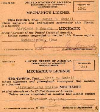 Jimmie Wedell's Mechanic's License