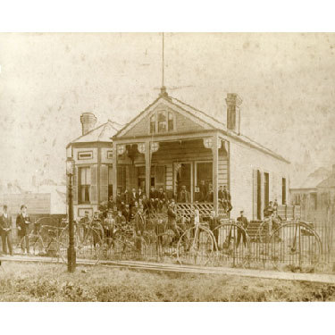 Louisiana Cycling Club members in front of their Clubhouse, 1890.