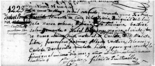 Baptismal Record of Isabel Pouponne Cazelar