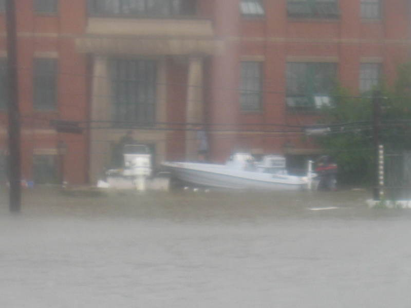 Boats tied to Building 35 during the flooding of Hurricane Katrina