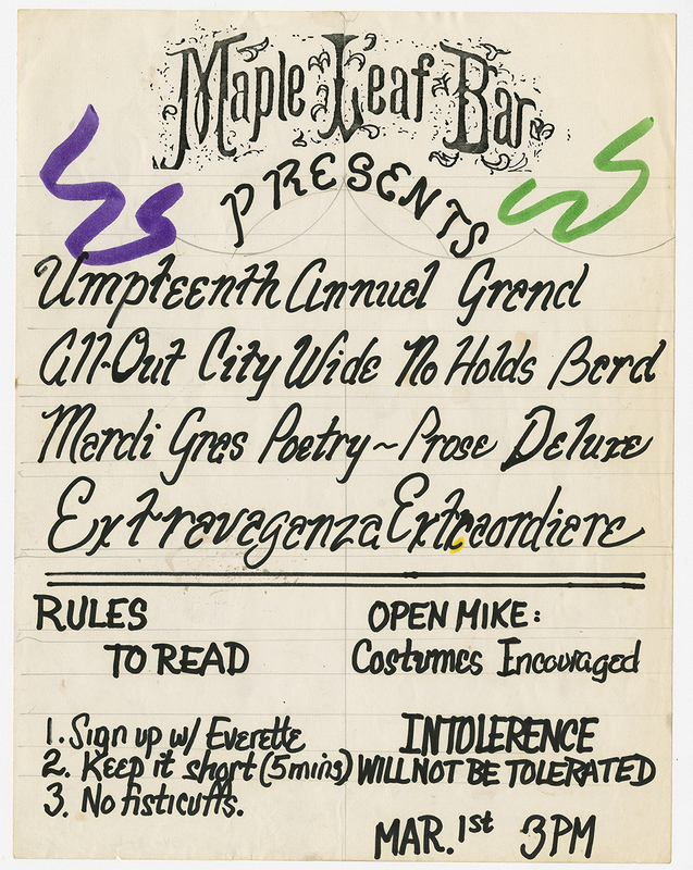 Flyer for Annual Mardi Gras Open Mic Reading at the Maple Leaf Bar. Courtesy The Historic New Orleans Collection