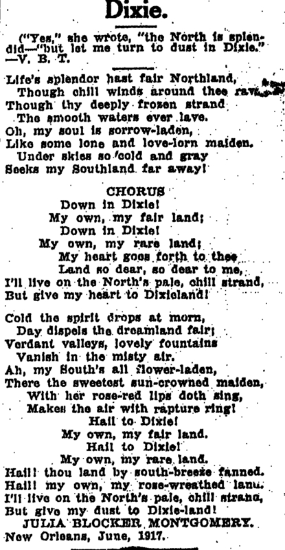 &quot;Dixie,&quot; a poem by Julia Montgomery. &lt;br /&gt;<br /> &lt;br /&gt;<br /> Courtesy of the Times Picayune July 1, 1917.