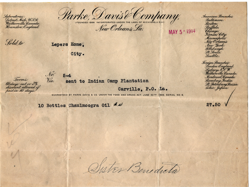 1914 receipt from Parke, Davis &amp;amp; Company for Chaulmoogra Oil purchased for leprosy treatment at Carville&lt;br /&gt;<br />