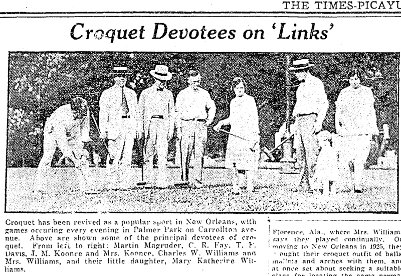 Croquet in Palmer Park 1928. &lt;br /&gt;<br />