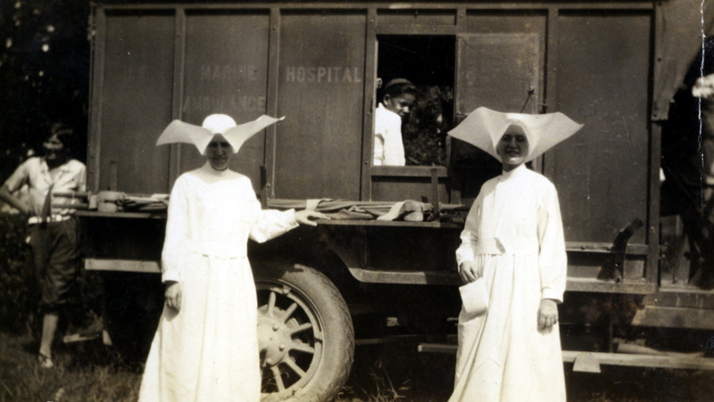 Daughters of Charity and Patient, US Marine Hospital #66, National Leprosarium ambulance, c. 1921.&lt;br /&gt;<br />