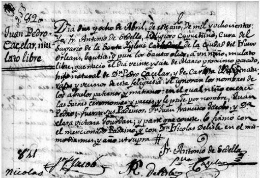 Jean Pierre Cazelar, Jr.'s Baptismal Record