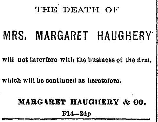 Margaret Haughtery's Death, 1882