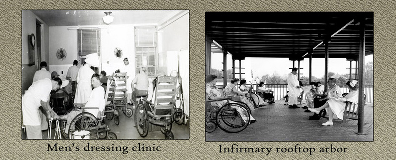 Men&#039;s dressing clinic (left) and infirmary rooftop arbor (right). &lt;br /&gt;<br />