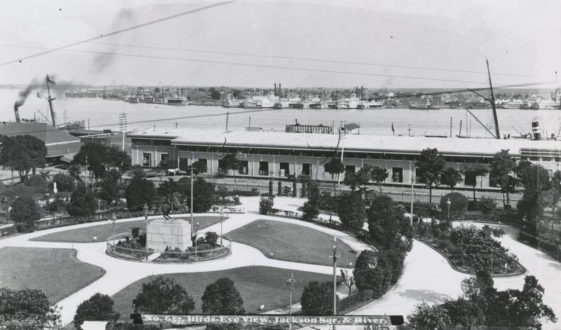 """""""Bird's-eye view, Jackson Square and the River,"""" 1900"""