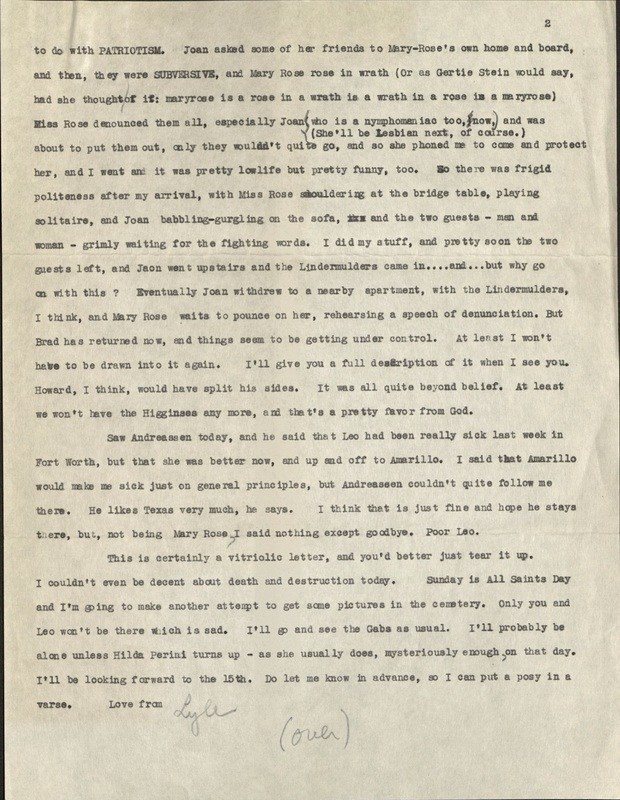Lyle Saxon letter, page two
