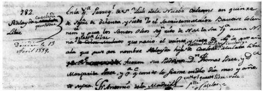Baptismal Record of Adelaide Cazelar