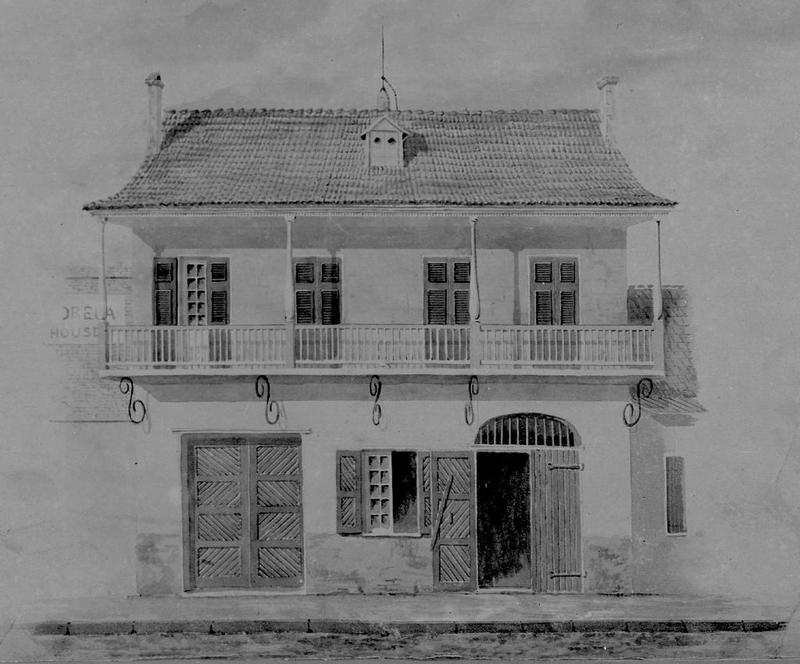 An 1852 illustration of 722 Toulouse Street.