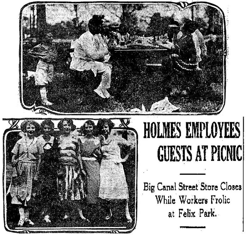 D.H. Holmes outing, Felix Park, 1921