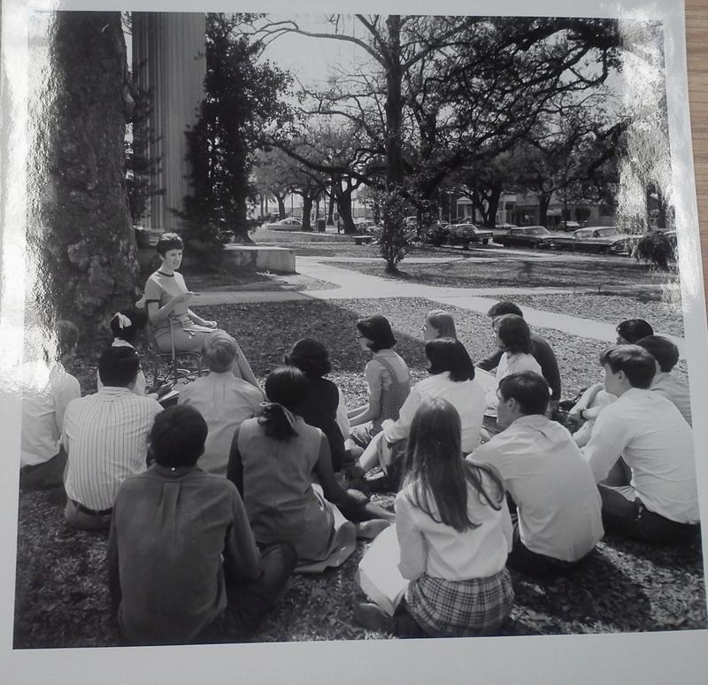 Class held on side lawn