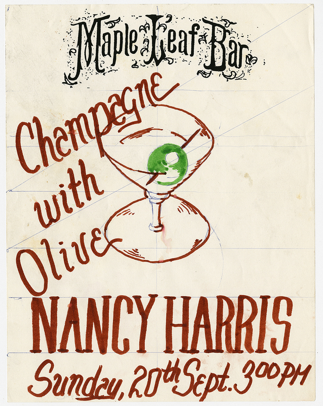 Flyer for Nancy Harris as Featured Reader at Maple Leaf Bar Reading Series. Courtesy The Historic New Orleans Collection