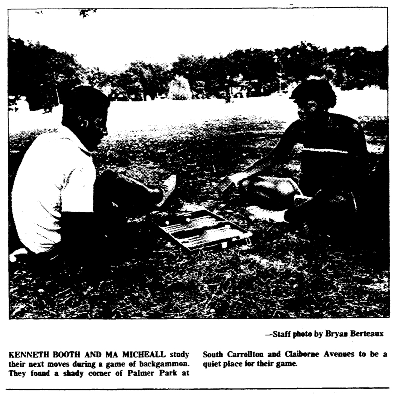 Two people playing backgammon in Palmer Park. &lt;br /&gt;<br />