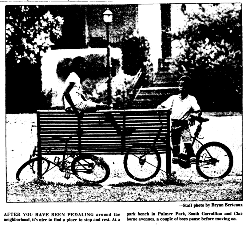 Children on a park bench in Palmer Park. &lt;br /&gt;<br />