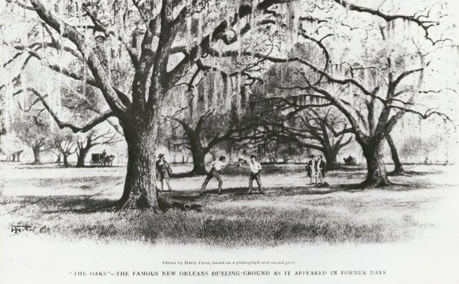 The Oaks: Famous New Orleans Dueling Ground as it appeared in Former Days.