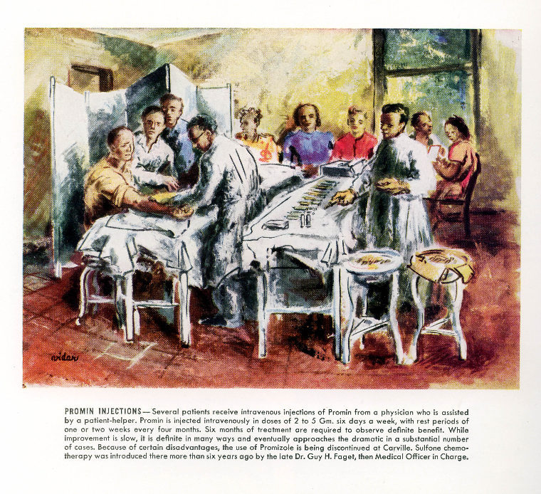 Promin Clinic, Infirmary, National Leprosarium. Reproduction of original oil painting from 1947 by Howard Baer. &lt;br /&gt;<br />