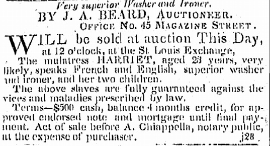 """Advertisement for a Slave Auction at the St. Louis Hotel & Exchange"""