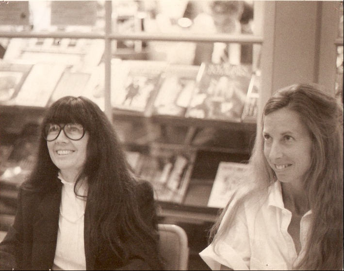 Anne Rice (left) and Rhoda Faust during a signing.