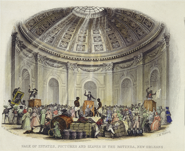 """Sale of Estates, Pictures and Slaves in the Rotunda, New Orleans"""