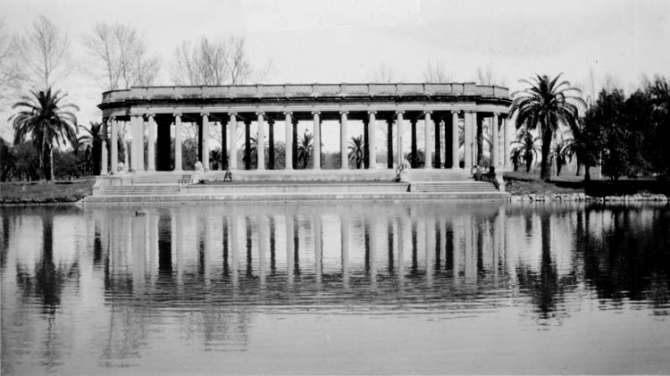 Early view of the Peristyle from across the lagoon.