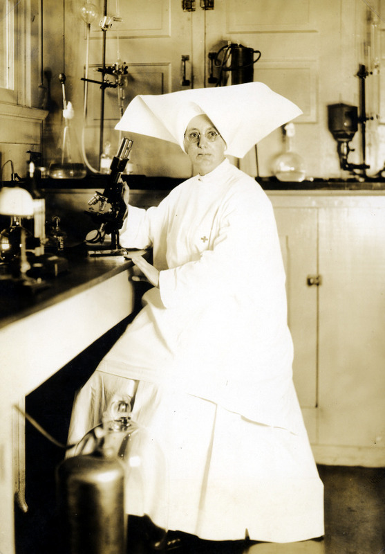 Sr. Hilary Ross in her laboratory, Infirmary, National Leprosarium, Carville. &lt;br /&gt;<br />