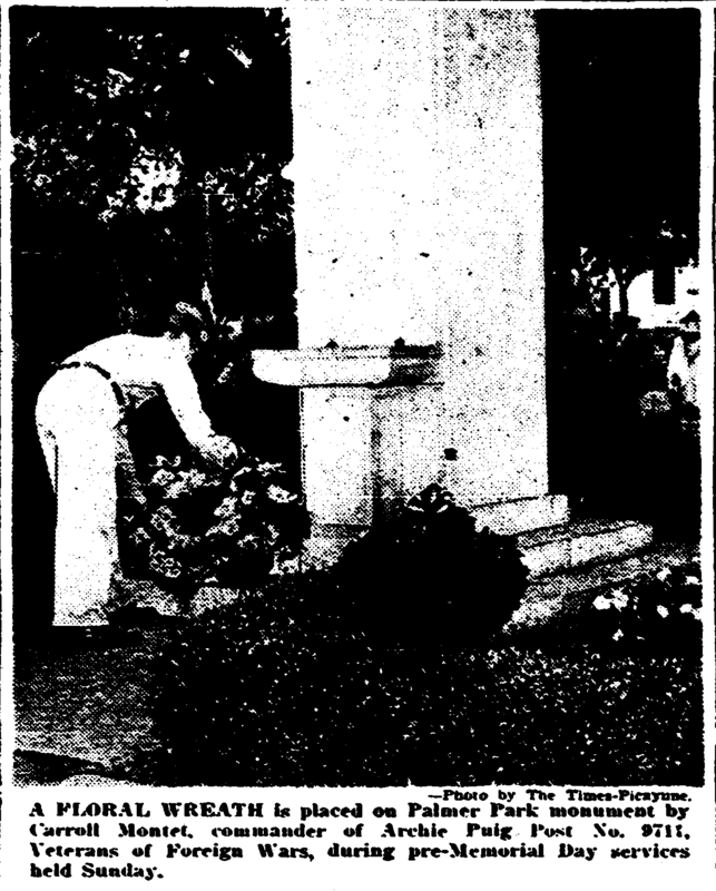 Laying of a wreath on the Palmer Park WWII Monument May 1949. &lt;br /&gt;<br />