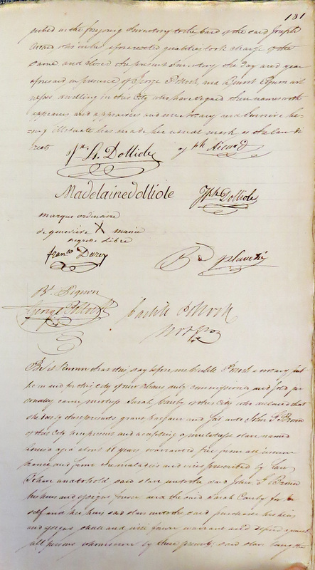 Signatures on the Louis Dolliole's Estate Inventory