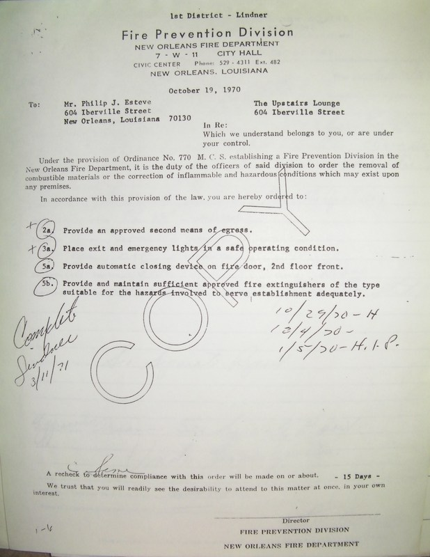 1971 Fire Safety Inspection Report, Upstairs Lounge