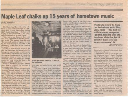 """""""Maple Leaf chalks up 15 years of hometown music"""""""