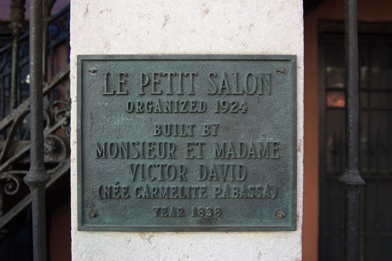 Plaque on the Building Which Once Housed Le Petit Salon