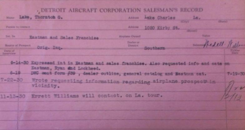 Detroit Aircraft Corporation Sales Card