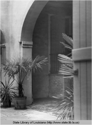 Courtyard at Lyle Saxon's Madison Street house in New Orleans Louisiana in the 1930s