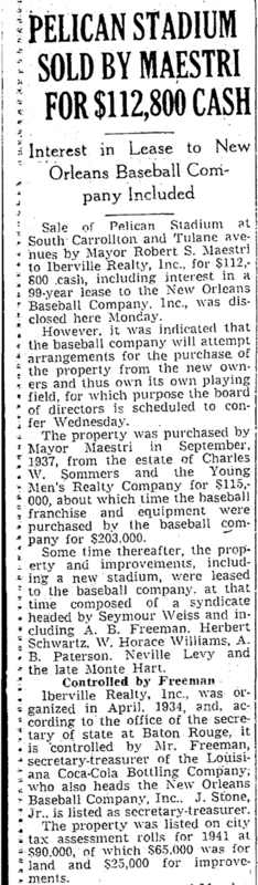 Times Picayune Article, April 1, 1941
