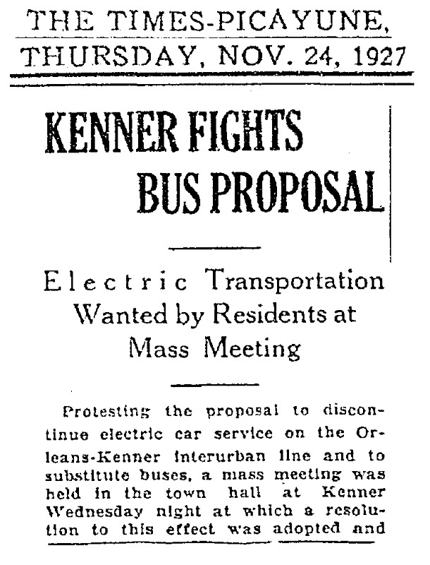 Community Protests proposed bus service, 1927