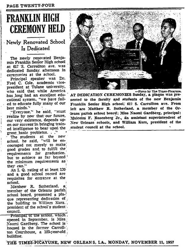Fall of 1957: Ben Franklin High School Opens It Doors to 105 Sophomores
