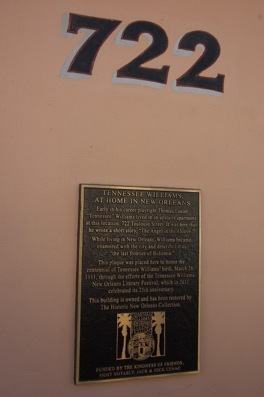 Close up of plaque, 722 Toulouse Street, 2015