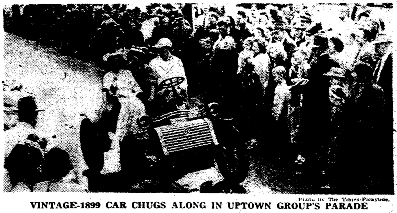 Picture of the Carrollton Annexation 75th Anniversary Parade featuring cars from the turn of the century. &lt;br /&gt;<br />