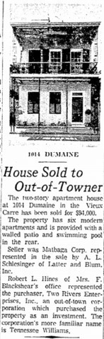 Times-Picayune article on Williams purchasing 1014 Dumaine Street.