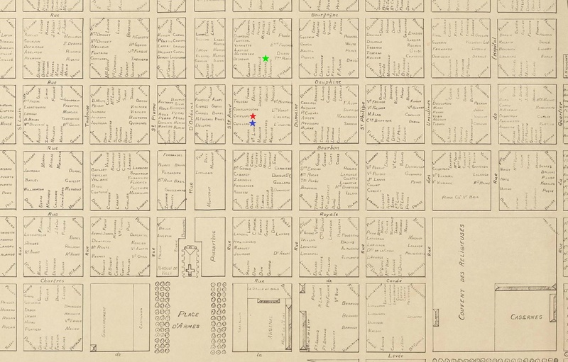 Map of New Orleans French Quarter in 1808 with properties owned by the Cazelars marked.