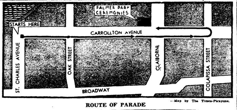 Carrollton held a parade in March 1949 to commemorate the 75th anniversary of New Orleans&#039;s annexation of the town. The parade ended in Palmer Park and featured a program of speeches, high school marching bands, and community songs.&lt;br /&gt;<br />