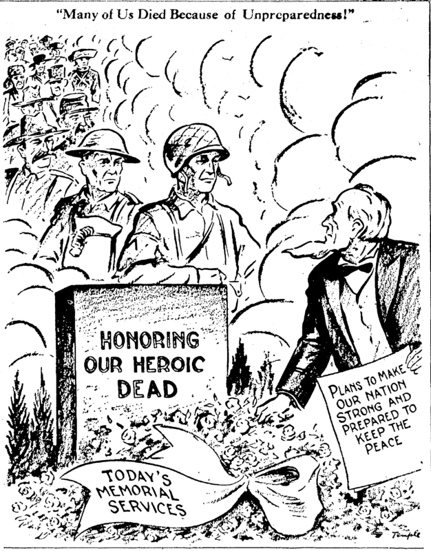 Memorial Day political cartoon. &lt;br /&gt;<br />
